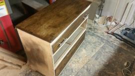 Oak Modern Dresser -Testing stain darkness - I ended up going darker.