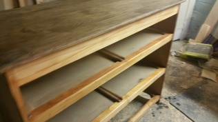 Oak Modern Dresser -Dresser after sanding and cleaning