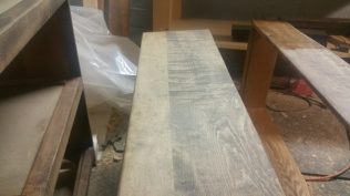 Oak Modern Dresser -Drawers after staining