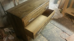 Oak Modern Dresser -Repaired drawers